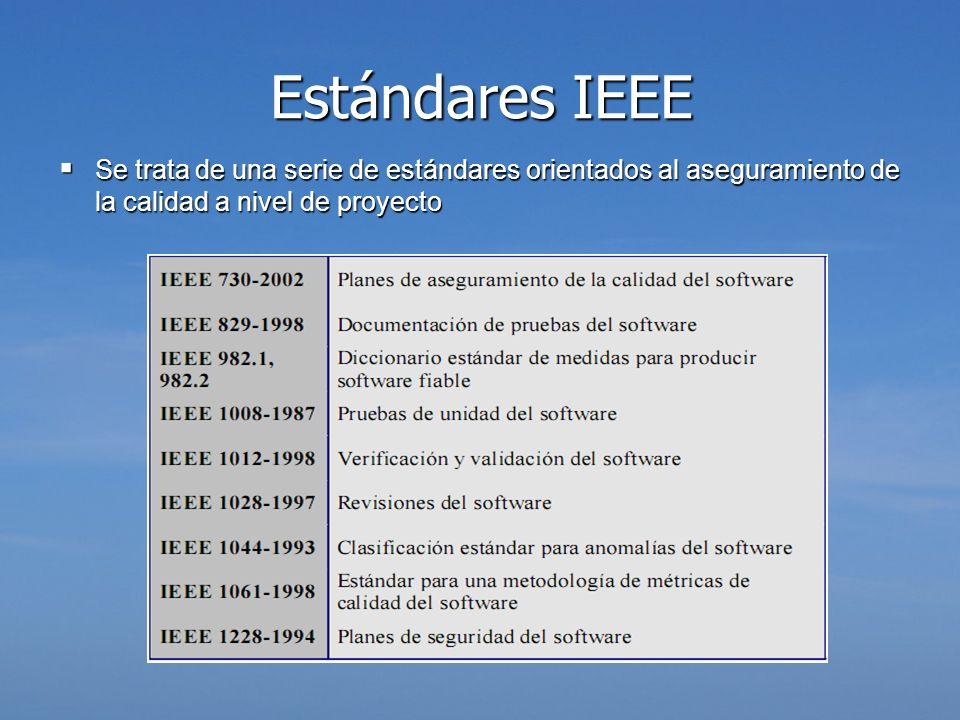 Estándares IEEE Se trata de una serie de estándares orientados al aseguramiento de la calidad a nivel de proyecto.