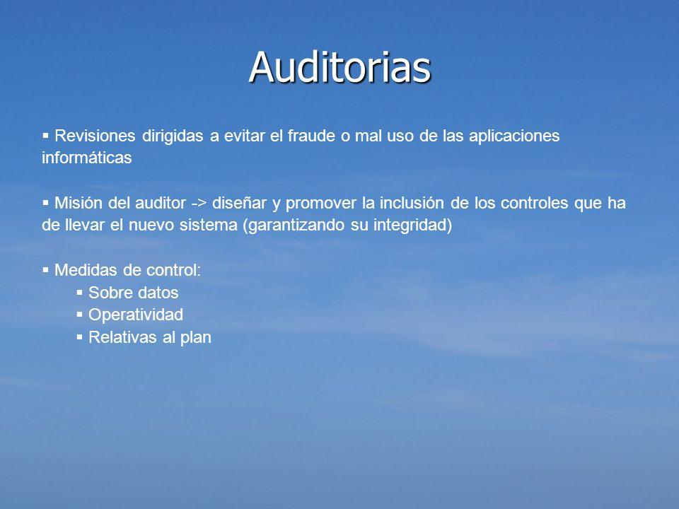 Auditorias Revisiones dirigidas a evitar el fraude o mal uso de las aplicaciones informáticas.