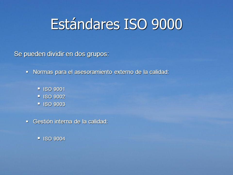 Estándares ISO 9000 Se pueden dividir en dos grupos: