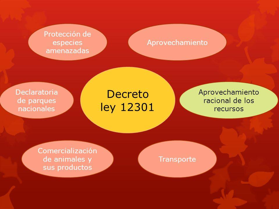 Decreto ley 12301 Protección de especies amenazadas Aprovechamiento