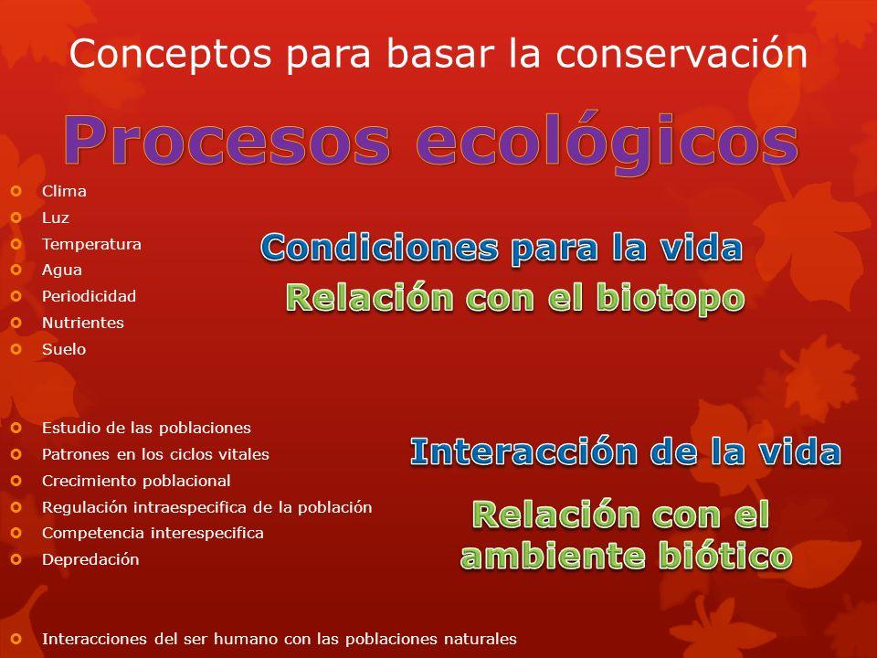 Conceptos para basar la conservación