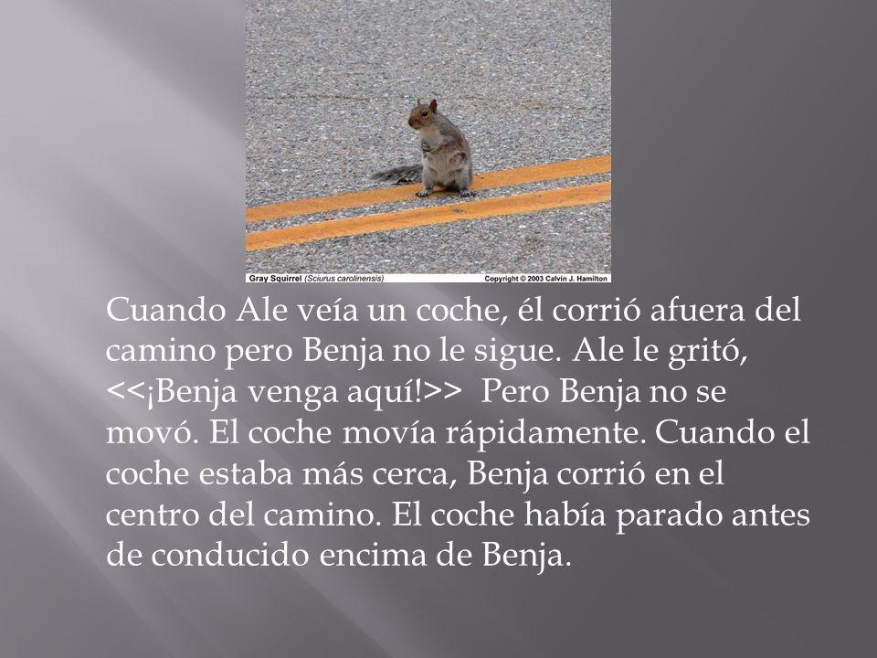 Cuando Ale veía un coche, él corrió afuera del camino pero Benja no le sigue.