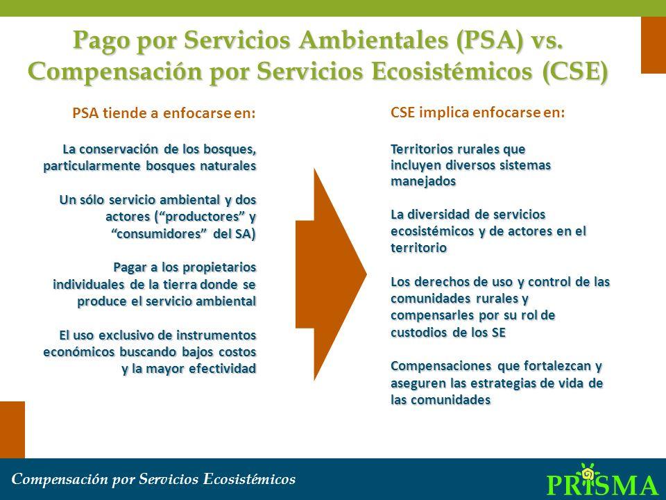 Pago por Servicios Ambientales (PSA) vs
