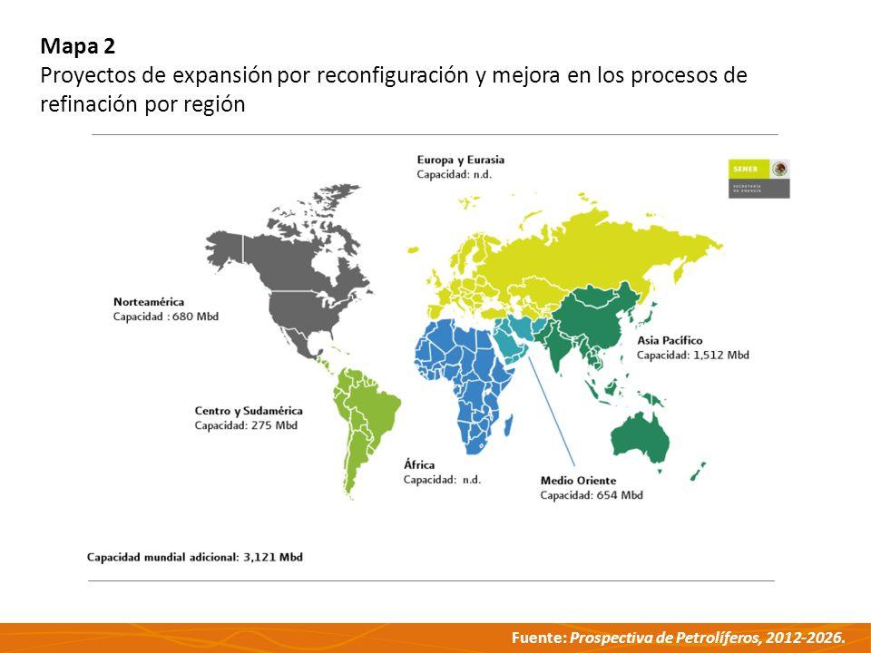 Mapa 2 Proyectos de expansión por reconfiguración y mejora en los procesos de refinación por región