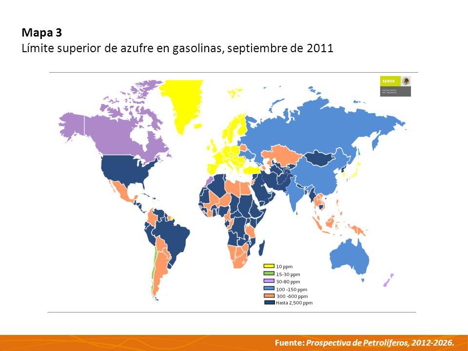 Mapa 3 Límite superior de azufre en gasolinas, septiembre de 2011