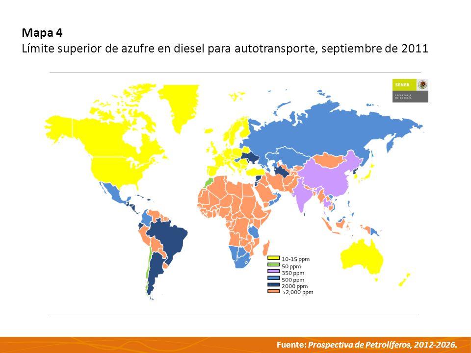 Mapa 4 Límite superior de azufre en diesel para autotransporte, septiembre de 2011