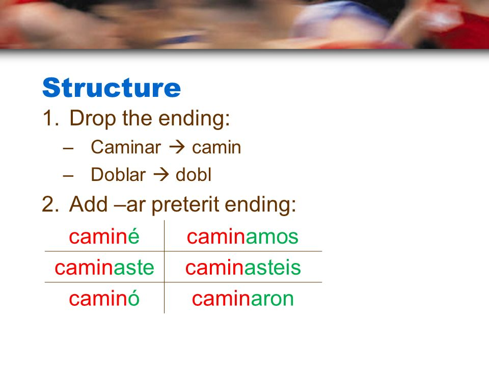 Structure Drop the ending: Add –ar preterit ending: caminé caminamos