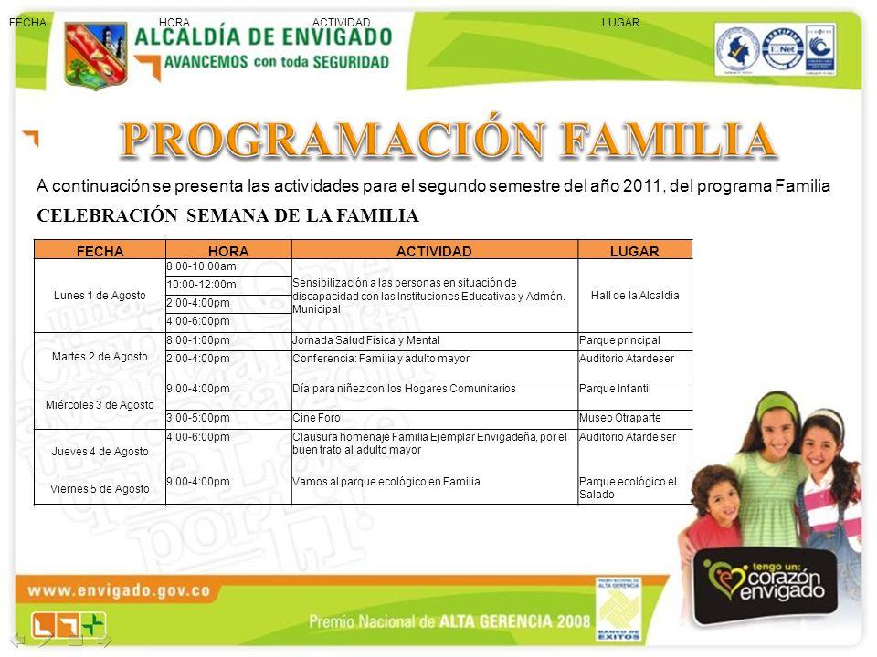 PROGRAMACIÓN FAMILIA CELEBRACIÓN SEMANA DE LA FAMILIA