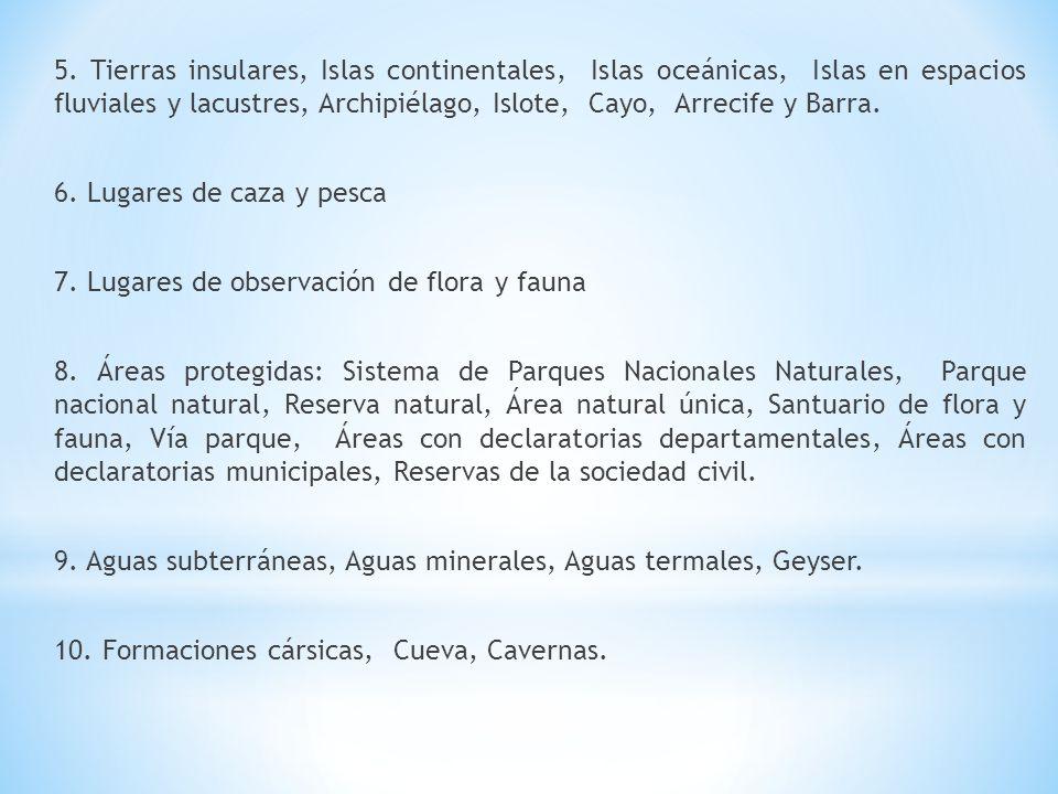 5. Tierras insulares, Islas continentales, Islas oceánicas, Islas en espacios fluviales y lacustres, Archipiélago, Islote, Cayo, Arrecife y Barra.