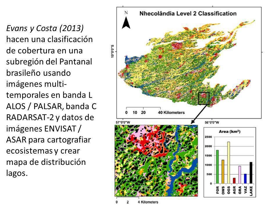 Evans y Costa (2013) hacen una clasificación de cobertura en una subregión del Pantanal brasileño usando imágenes multi-temporales en banda L ALOS / PALSAR, banda C RADARSAT-2 y datos de imágenes ENVISAT / ASAR para cartografiar ecosistemas y crear mapa de distribución lagos.