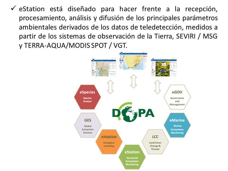 eStation está diseñado para hacer frente a la recepción, procesamiento, análisis y difusión de los principales parámetros ambientales derivados de los datos de teledetección, medidos a partir de los sistemas de observación de la Tierra, SEVIRI / MSG y TERRA-AQUA/MODIS SPOT / VGT.