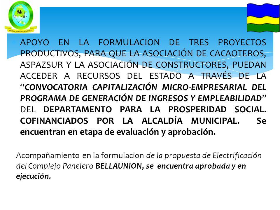 APOYO EN LA FORMULACION DE TRES PROYECTOS PRODUCTIVOS, PARA QUE LA ASOCIACIÓN DE CACAOTEROS, ASPAZSUR Y LA ASOCIACIÓN DE CONSTRUCTORES, PUEDAN ACCEDER A RECURSOS DEL ESTADO A TRAVÉS DE LA CONVOCATORIA CAPITALIZACIÓN MICRO-EMPRESARIAL DEL PROGRAMA DE GENERACIÓN DE INGRESOS Y EMPLEABILIDAD DEL DEPARTAMENTO PARA LA PROSPERIDAD SOCIAL. COFINANCIADOS POR LA ALCALDÍA MUNICIPAL. Se encuentran en etapa de evaluación y aprobación.