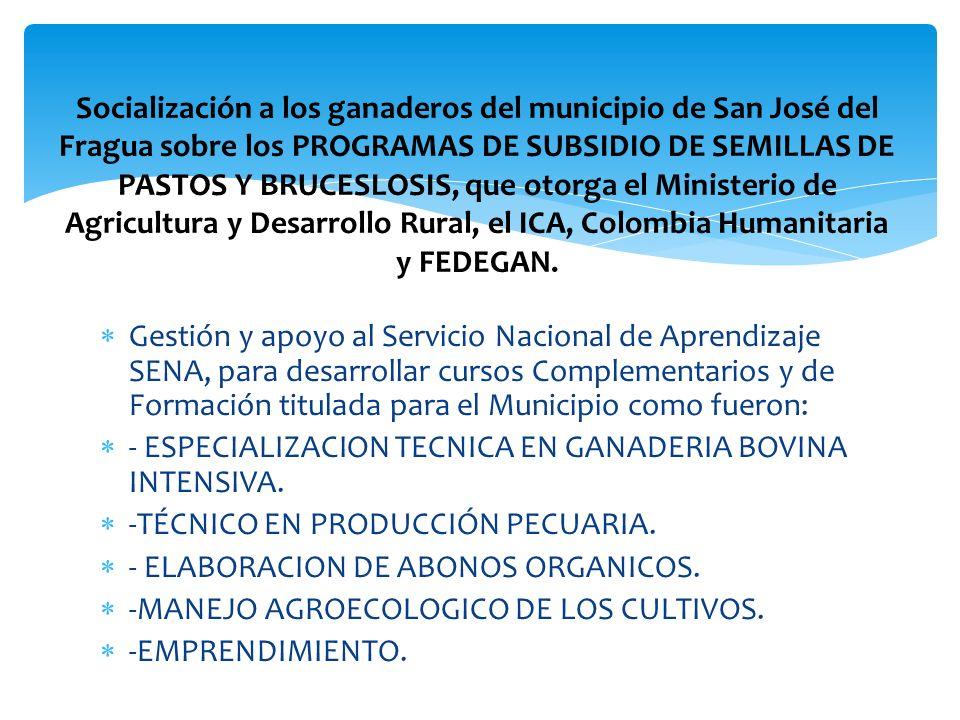 Socialización a los ganaderos del municipio de San José del Fragua sobre los PROGRAMAS DE SUBSIDIO DE SEMILLAS DE PASTOS Y BRUCESLOSIS, que otorga el Ministerio de Agricultura y Desarrollo Rural, el ICA, Colombia Humanitaria y FEDEGAN.