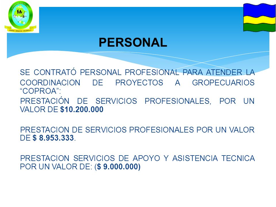 PERSONAL SE CONTRATÓ PERSONAL PROFESIONAL PARA ATENDER LA COORDINACION DE PROYECTOS A GROPECUARIOS COPROA :