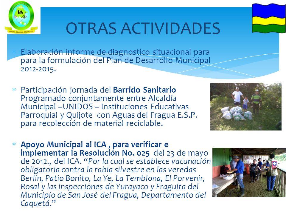 OTRAS ACTIVIDADES Elaboración informe de diagnostico situacional para para la formulación del Plan de Desarrollo Municipal 2012-2015.