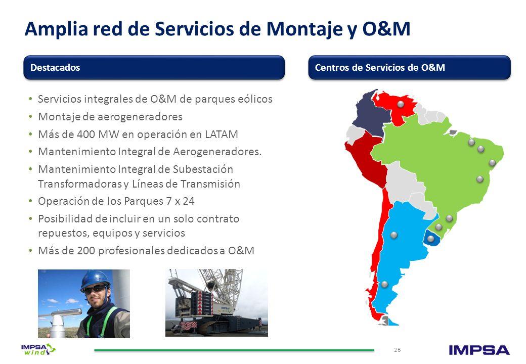 Amplia red de Servicios de Montaje y O&M