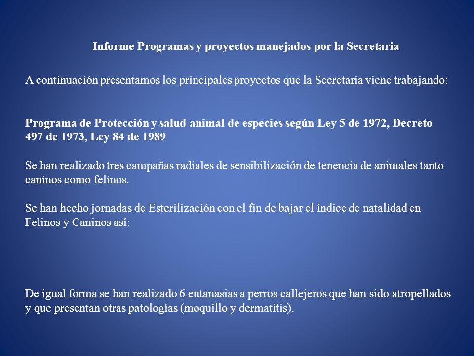 Informe Programas y proyectos manejados por la Secretaria