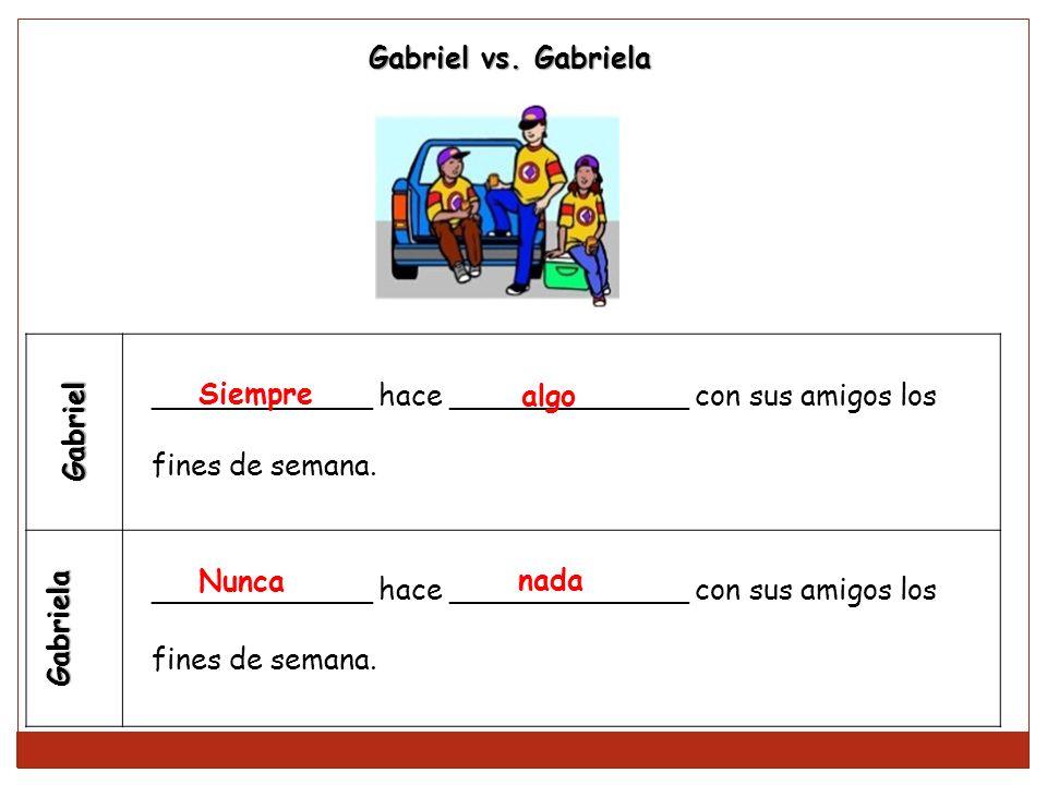 Gabriel vs. Gabriela Gabriel. Gabriela. ____________ hace _____________ con sus amigos los. fines de semana.