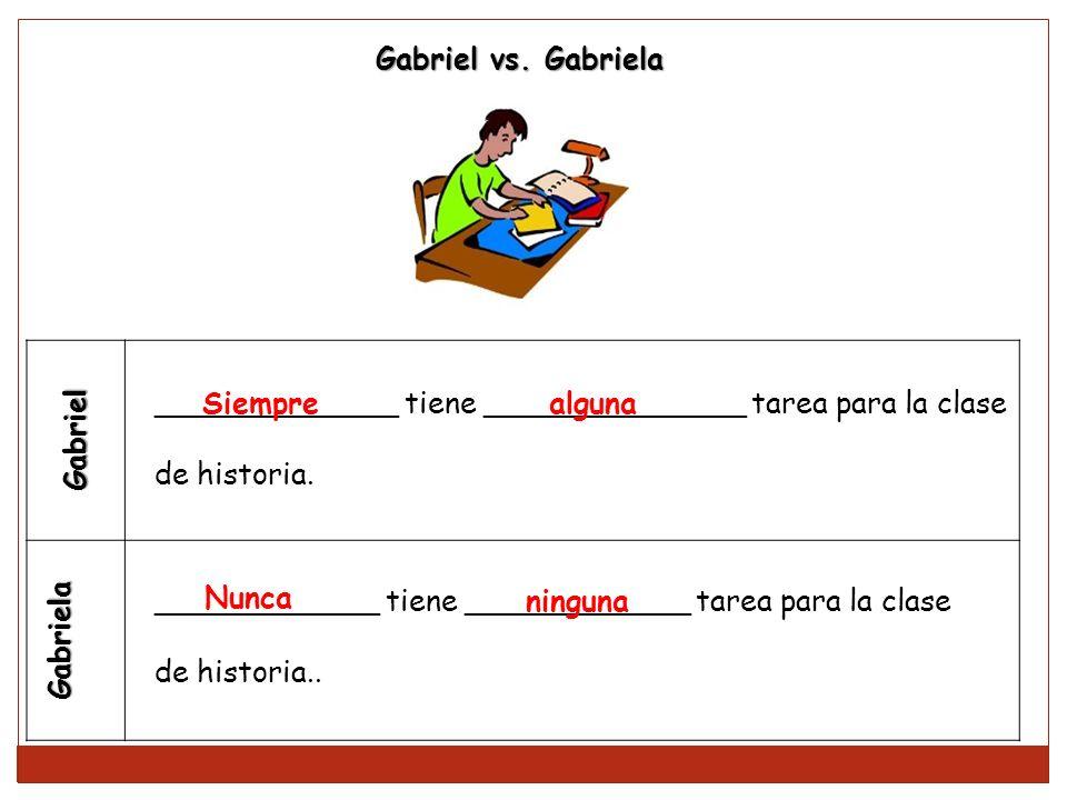 Gabriel vs. Gabriela Gabriel. Gabriela. _____________ tiene ______________ tarea para la clase. de historia.