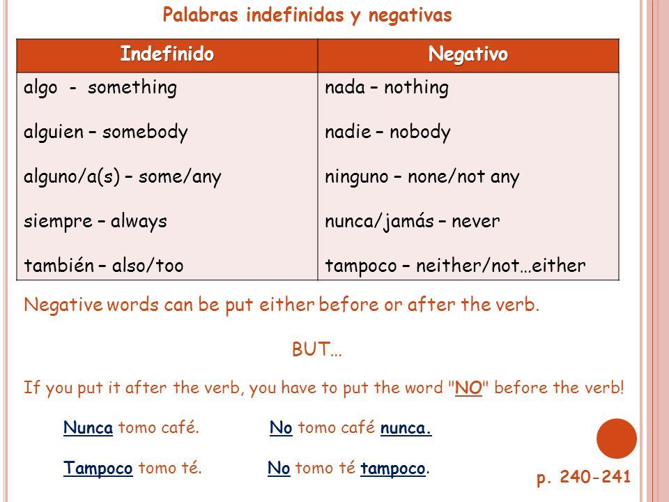 Palabras indefinidas y negativas Indefinido Negativo algo - something