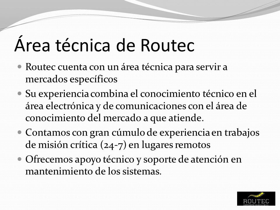 Área técnica de Routec Routec cuenta con un área técnica para servir a mercados específicos.