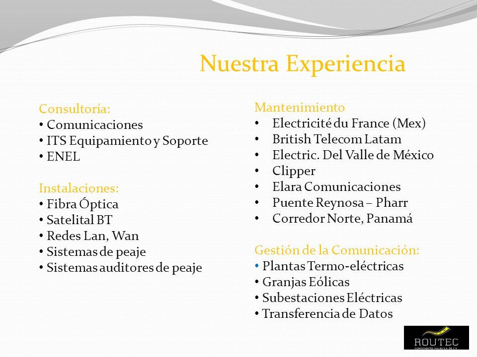 Nuestra Experiencia Mantenimiento Consultoría: