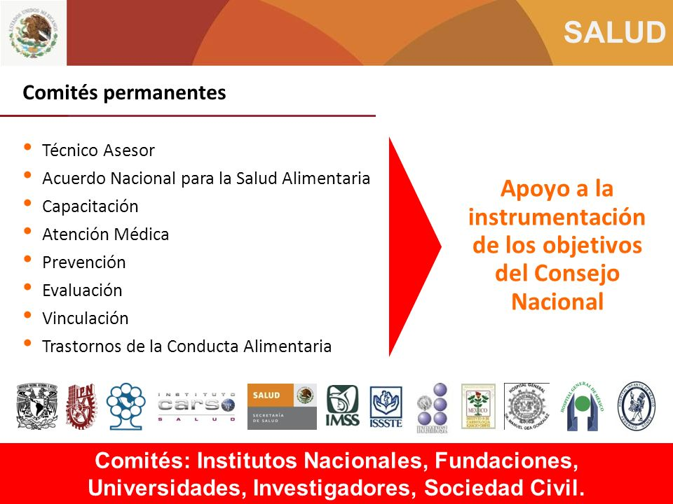 Apoyo a la instrumentación de los objetivos del Consejo Nacional