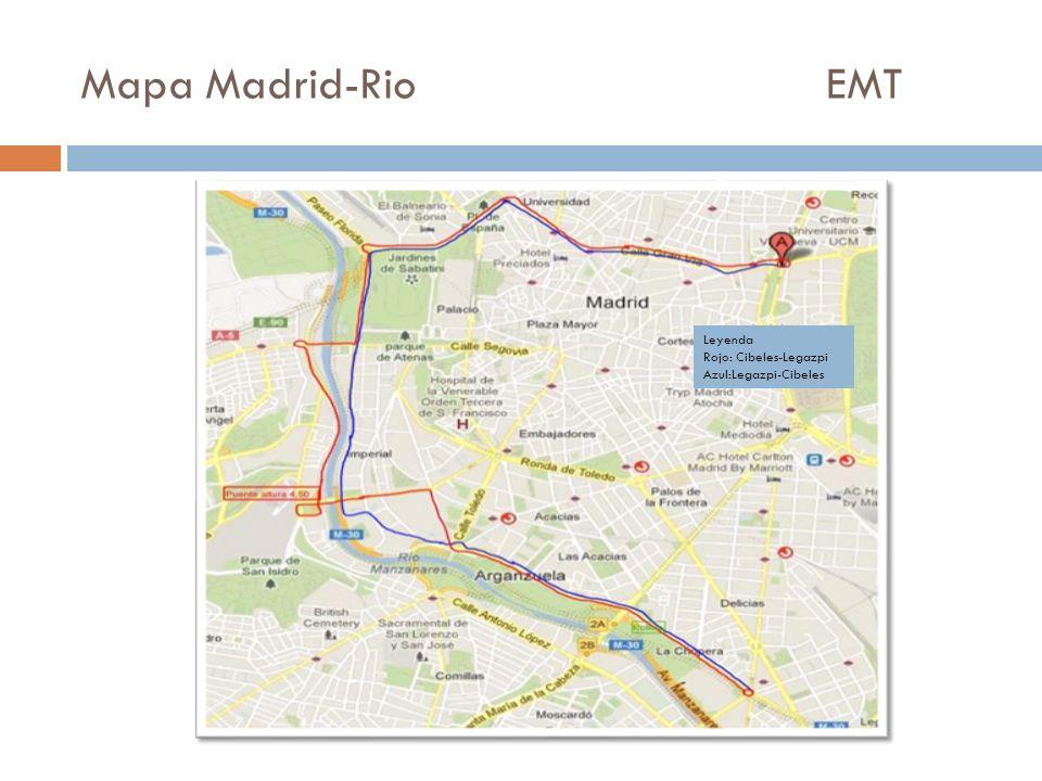 Mapa Madrid-Rio EMTLeyenda.