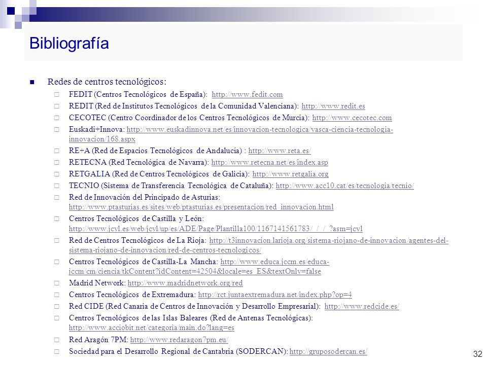 Bibliografía Redes de centros tecnológicos: