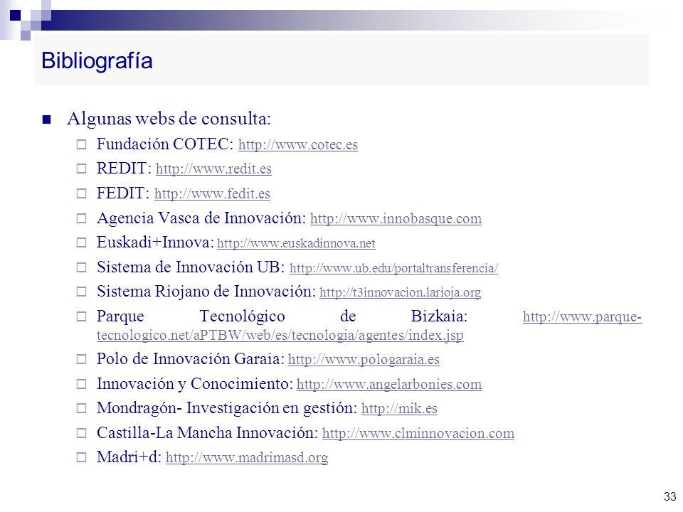 Bibliografía Algunas webs de consulta: