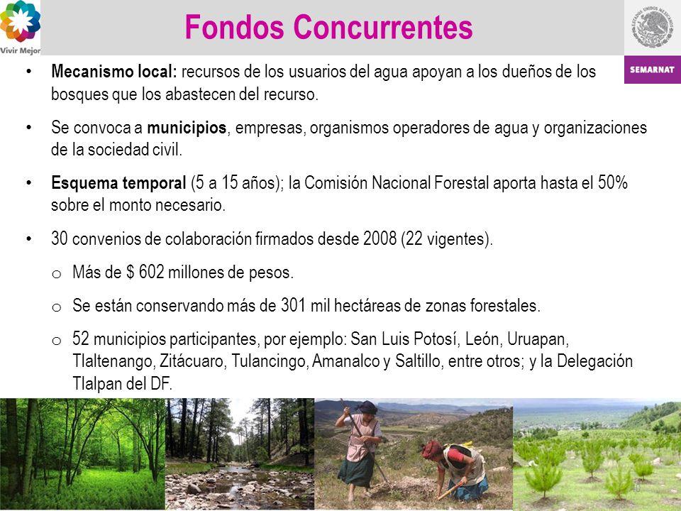 Fondos Concurrentes Mecanismo local: recursos de los usuarios del agua apoyan a los dueños de los bosques que los abastecen del recurso.