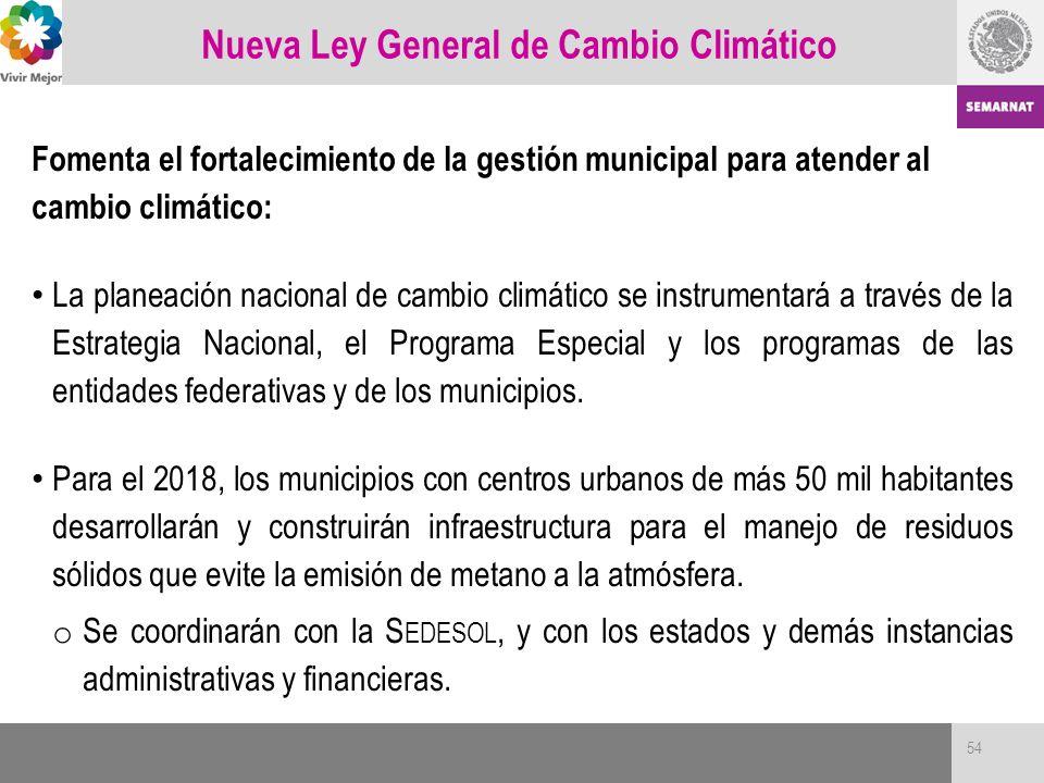 Nueva Ley General de Cambio Climático