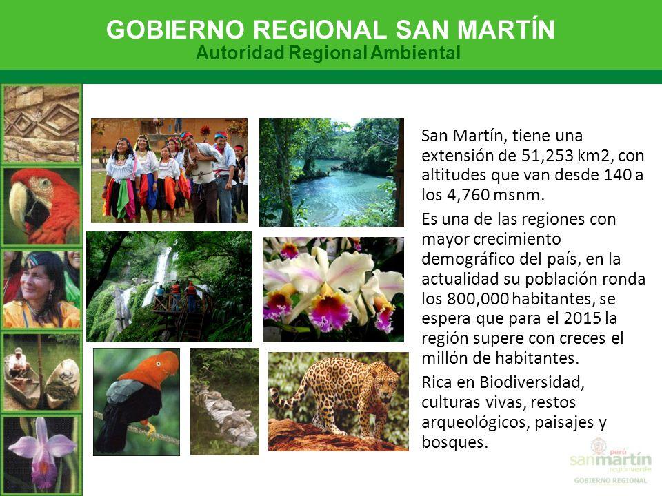 San Martín, tiene una extensión de 51,253 km2, con altitudes que van desde 140 a los 4,760 msnm.