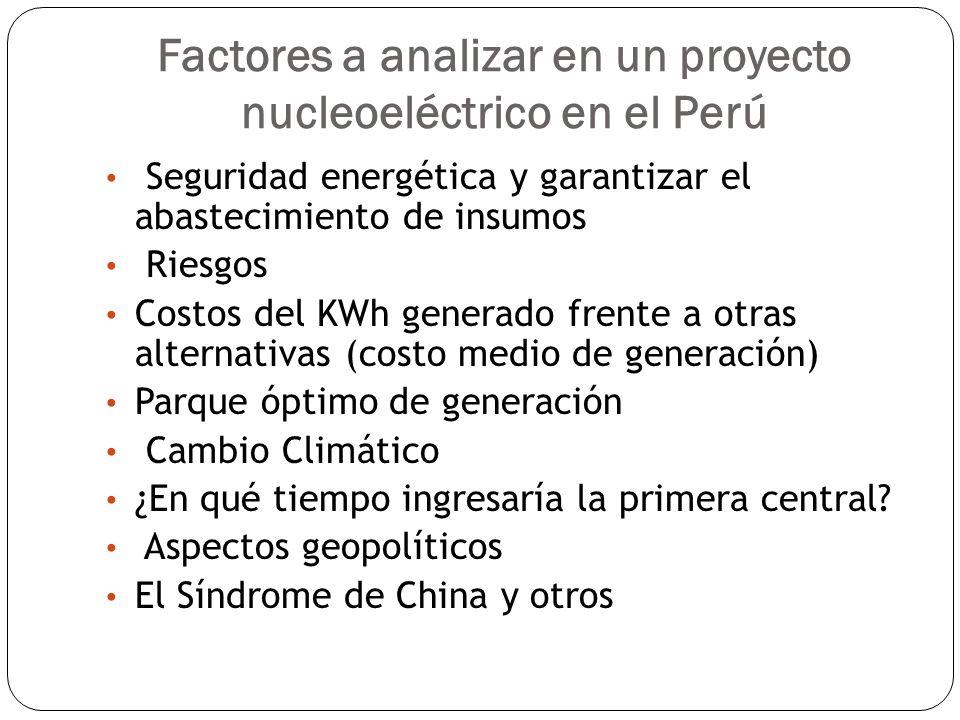 Factores a analizar en un proyecto nucleoeléctrico en el Perú