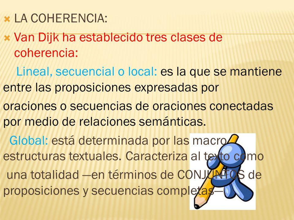 LA COHERENCIA: Van Dijk ha establecido tres clases de coherencia: