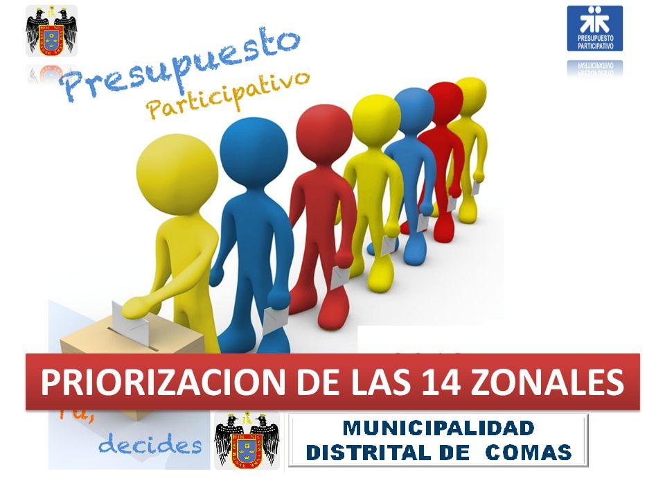 PRIORIZACION DE LAS 14 ZONALES