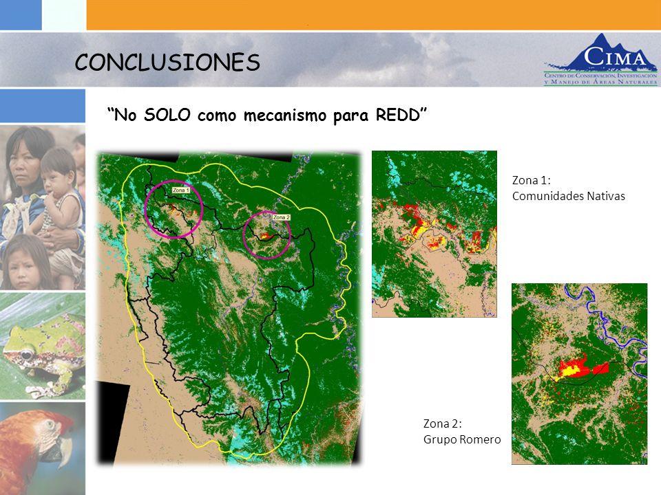 CONCLUSIONES No SOLO como mecanismo para REDD Zona 1: