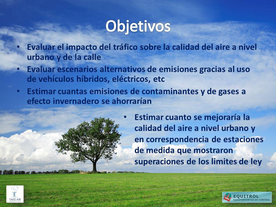 Objetivos Evaluar el impacto del tráfico sobre la calidad del aire a nivel urbano y de la calle.