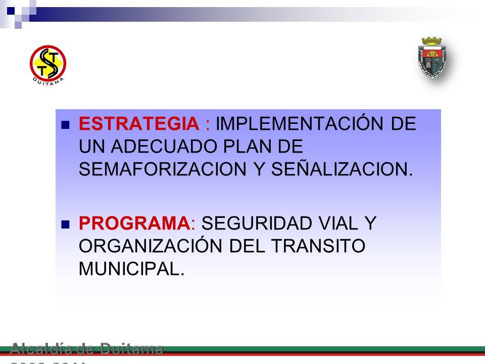 PROGRAMA: SEGURIDAD VIAL Y ORGANIZACIÓN DEL TRANSITO MUNICIPAL.