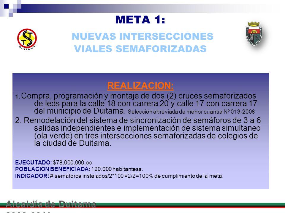 META 1: NUEVAS INTERSECCIONES VIALES SEMAFORIZADAS
