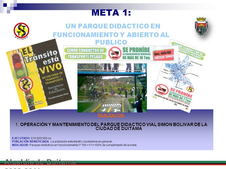 META 1: UN PARQUE DIDACTICO EN FUNCIONAMIENTO Y ABIERTO AL PUBLICO