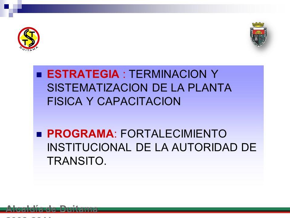 PROGRAMA: FORTALECIMIENTO INSTITUCIONAL DE LA AUTORIDAD DE TRANSITO.