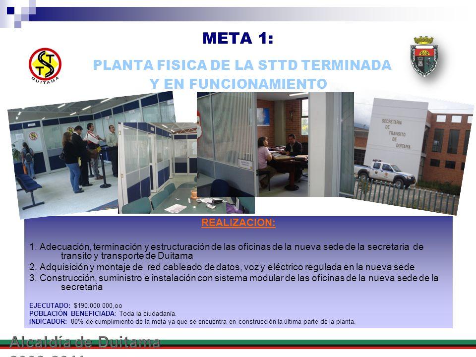META 1: PLANTA FISICA DE LA STTD TERMINADA Y EN FUNCIONAMIENTO