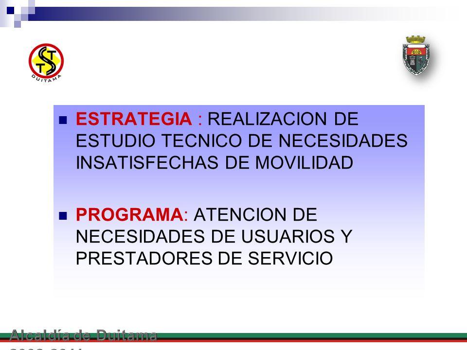 ESTRATEGIA : REALIZACION DE ESTUDIO TECNICO DE NECESIDADES INSATISFECHAS DE MOVILIDAD