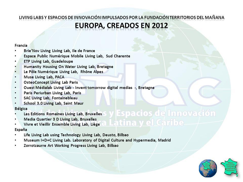 Living Labs y espacios de innovación impulsados por la Fundación Territorios del Mañana Europa, creados en 2012