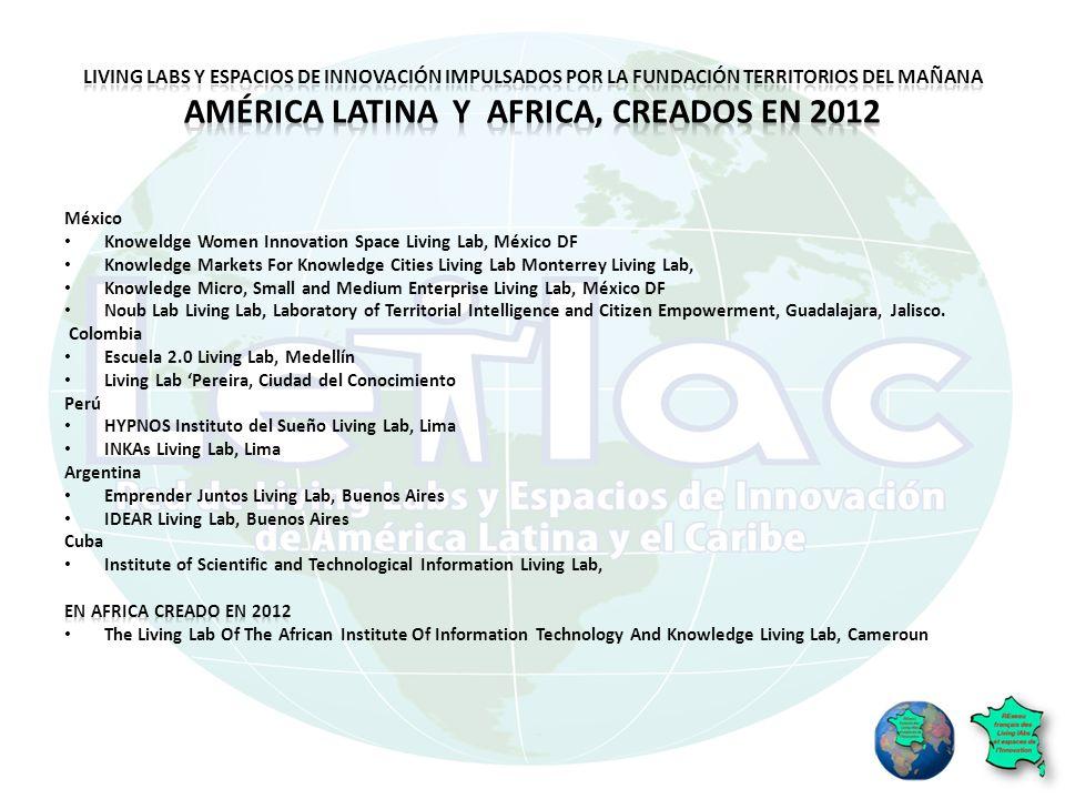 Living Labs y espacios de innovación impulsados por la Fundación Territorios del Mañana América Latina y Africa, creados en 2012