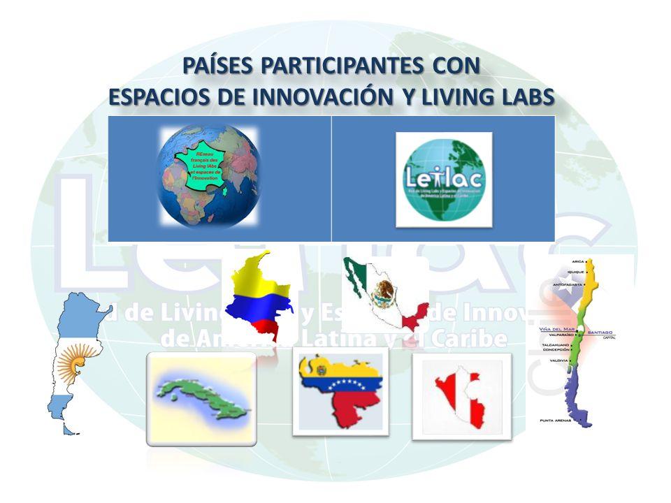 PAÍSES PARTICIPANTES CON ESPACIOS DE INNOVACIÓN Y LIVING LABS