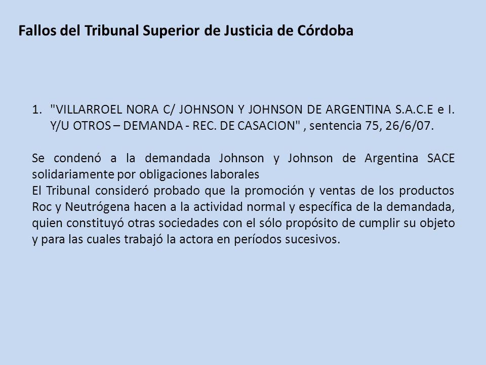 Fallos del Tribunal Superior de Justicia de Córdoba