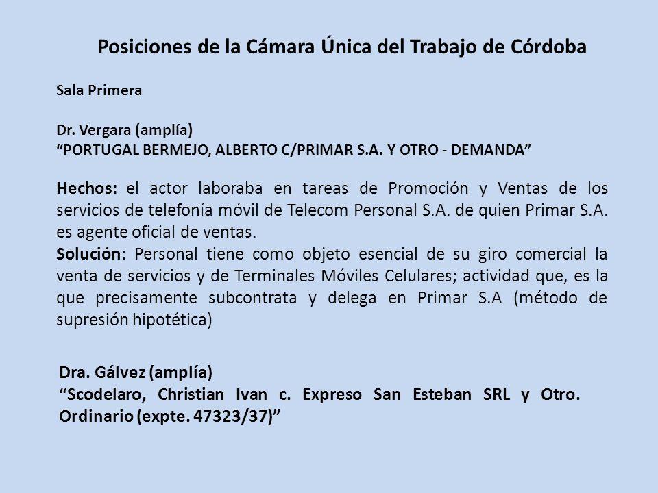 Posiciones de la Cámara Única del Trabajo de Córdoba