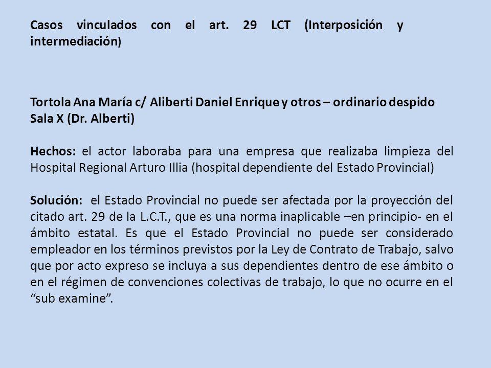 Casos vinculados con el art. 29 LCT (Interposición y intermediación)